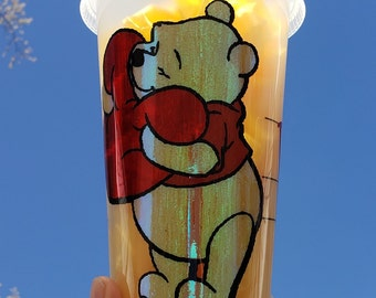 Pooh Bear Hugging Heart Holographic Valentine's Day Starbucks Warm Reusable Grande Coffee Cup