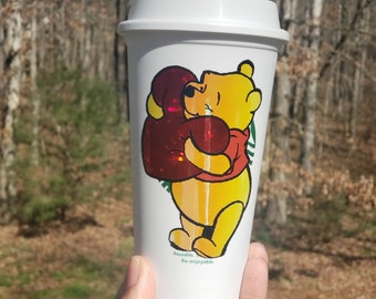 Pooh Bear Hugging Heart Holographic Valentine's Day Starbucks Warm Reusable Grande Coffee Cup by Black Sheep Creationss