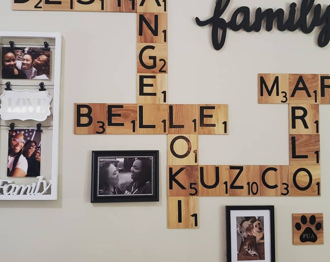 Featured listing image: 4x4 Scrabble Tiles Wall Art