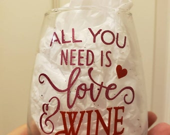 All You Need Is  Love And Wine Valentine's Heart Stemless Wine Glass by Black Sheep Creationss