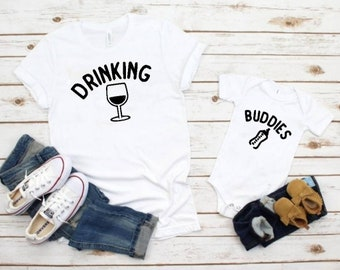 Drinking Buddies Parent and Child Matching Graphic Tees