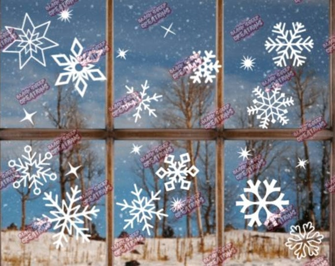 Featured listing image: Christmas Snowflakes and Sparkles Window/Wall Decal