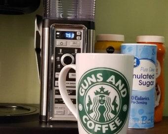 Starbucks Inspired Guns and Coffee Ceramic Mug