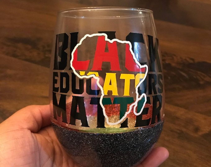 Featured listing image: Black Professionals Matter Stemless Peekaboo Wine Glass