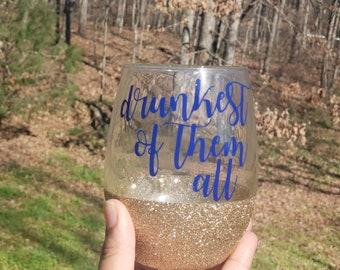 Drunkest of Them All Snow White Disney Inspired Peekaboo Glitter Stemless Wine Glass