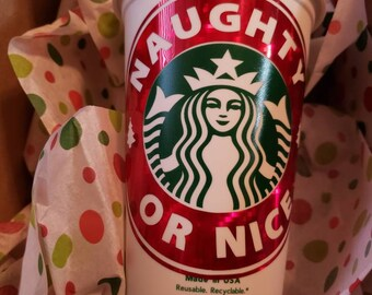 Personalized Reusable Hot Starbucks Grande Christmas Coffee Cup by Black Sheep Clothing & Accessories