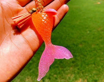 Custom Resin Glitter Orange and Pink Ombre Mermaid Tail Keychain with Tassel and Seashell