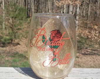 Beauty and the Bottle Disney's Beauty and the Beast Inspired Peekaboo Glitter Stemless Wine Glass