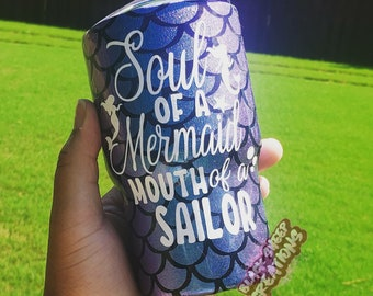 Soul of a Mermaid, Mouth of a Sailor Holographic Purple and Blue Scale Hogg Tumbler Coffee Cup