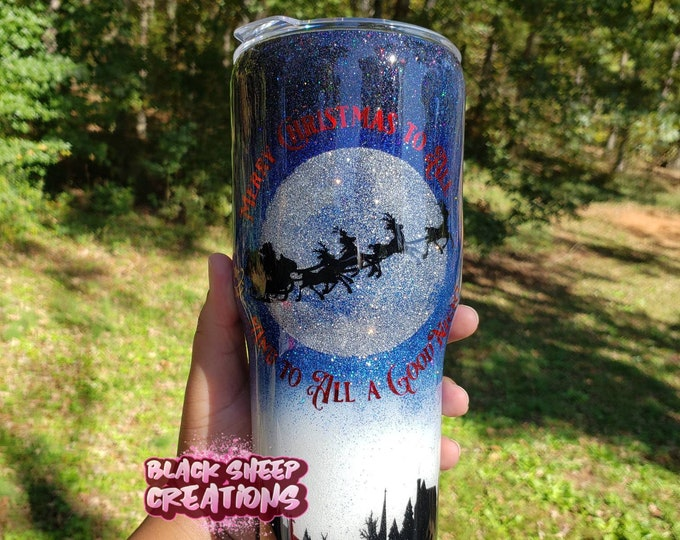 Featured listing image: Merry Christmas to All and to All a Good Night Santa Sleigh and Reindeer Hogg Tumbler Coffee Cup by Black Sheep Creationss