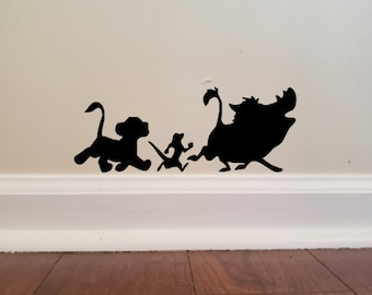 Disney Inspired Lion King Simba, Timon, and Pumbaa Hakuna Matata Baseboard Wall Decal
