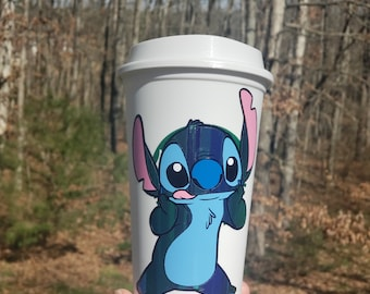 Disney Inspired Stitch Holographic Grande Starbucks Personalized Coffee Cup