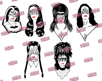 Lily Munster|Morticia Addams|Elvira Mistress of the Dark|Vampira|Wednesday Addams|Lydia Deetz Scream Queens Adhesive Vinyl Decal