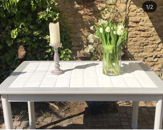 White Tile Modern Kitchen Dining Table Etsy