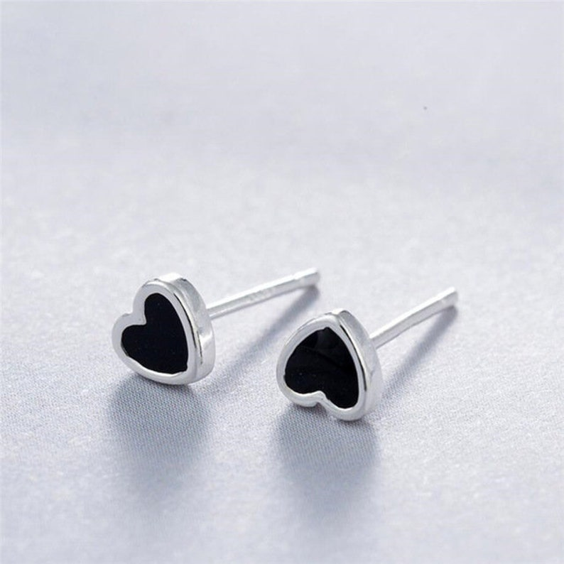 925 Sterling Silver Earrings Black Heart Stud Earrings Love image 0