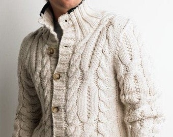 MADE TO ORDER Handmade knitted sweater Men Organic Wool Natural Gray Cardigan Mens pullover Cable knit White Sweaters present made in Russia