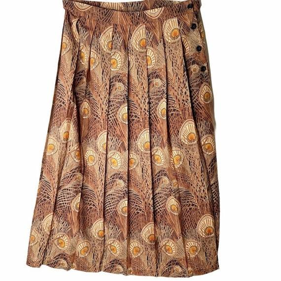 Ben Nevis wool peacock feather pleated skirt sz 12