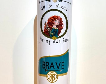 Merida tumbler,20oz skinny tumbler with lid and straw, brave, black bears, 3 little brothers, princess of dunbroch, Scotland, bow and arrow