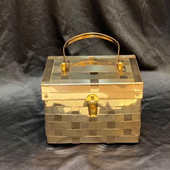 Midcentury Metal Brass Basket Weave Box Handbag Pu