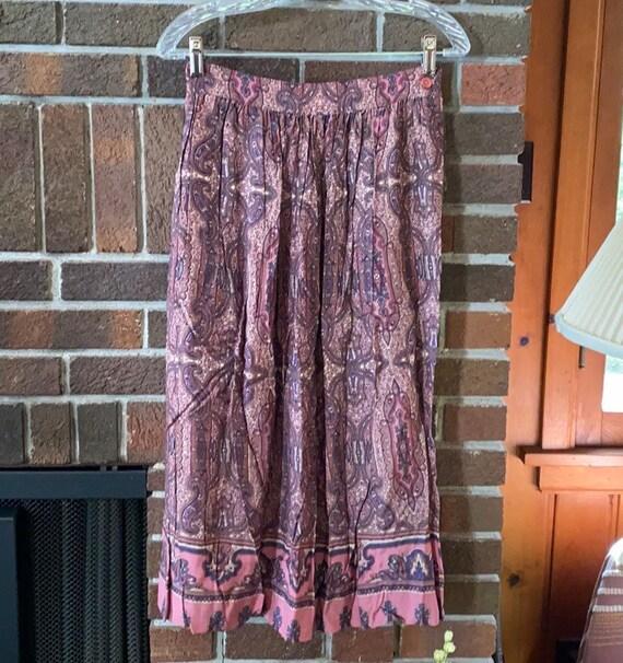 Vintage Talbots Mauve Paisley Midi Skirt 8