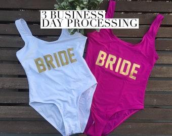 Wifey Bikini Top Bandeau Bikini Top High Waist Bottom Scrunch Butt Bride Engagement Bachelorette (Havasu)
