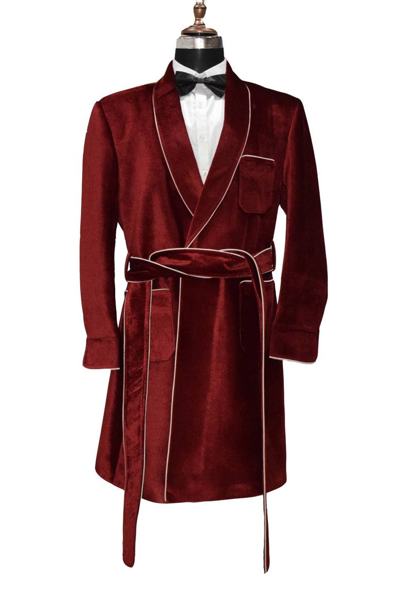 Special Gift For Him Smoking Jacket Wedding Party Wear Long Gown