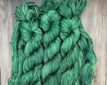 The Wizard, Pima Cotton, Hand Dyed Yarn, jewel tone green, indie dyed, organic dk Tencel linen vegan, yarn for knitters weavers crocheters