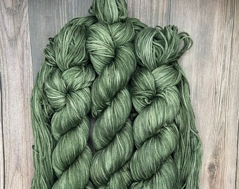 Under the Evergreens, Pima Cotton, Hand Dyed Yarn, soft earth green, indie dyed organic dk, vegan yarn for knitters weavers crocheters
