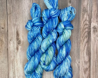 Verditter Pima Cotton DK Hand Dyed Yarn Classic theme indie dyed soft blue green vegan yarn for knitters weavers crocheters
