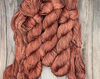 Rustic Dreams, Pima Cotton, Hand Dyed, warm copper brown, indie dyer, organic dk Tencel linen vegan,for knitters weavers crocheters