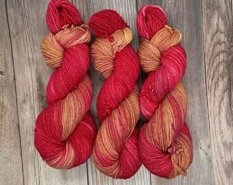 Terracotta fire, Bamboo Sock Blend, Hand Dyed Yarn, indie dyer, fingering weight, bamboo, summer, vegan, for knitters weavers crocheters