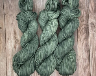 Under the Evergreens, Ready to Ship, Pima Cotton, Hand Dyed Yarn, indie dyed organic dk, vegan yarn for knitters weavers crocheters