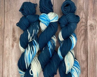 Lightning Strike Organic Cotton Worsted Hand Dyed Yarn Weather theme indie dyed blue beige vegan yarn for knitters weavers crocheters