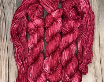 Persephone, 100% Pima Cotton, Hand Dyed Yarn, deep red purple, indie dyed, organic, dk Tencel linen vegan, for knitters weavers crocheters