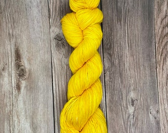 Tommy 100% Pima Cotton Hand Dyed Yarn gender neutral baby theme indie dyed semi solid yellow tonal vegan yarn knitters weavers crocheters