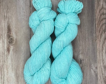 Bird's Eye View Bamboo Sock Blend Cotton Hand Dyed Yarn Nature theme indie dyed yarn tonal blue shade vegan knit weave crochet