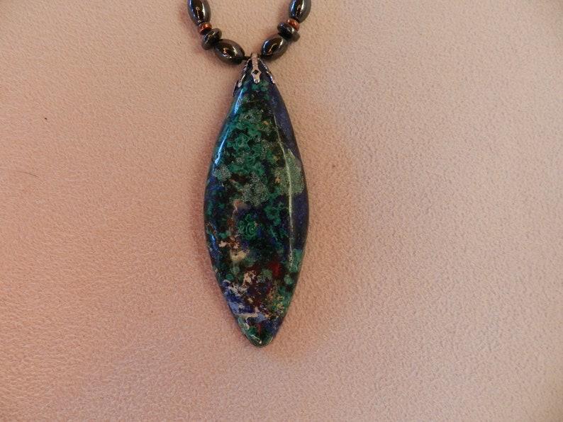 AZURITE MALACHITE  BEAUTIFULLPendant with Hematite Beads