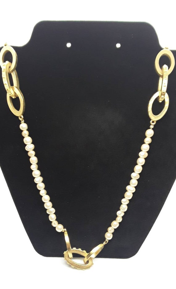 Vintage Pearl and Gold Long Necklace - image 1