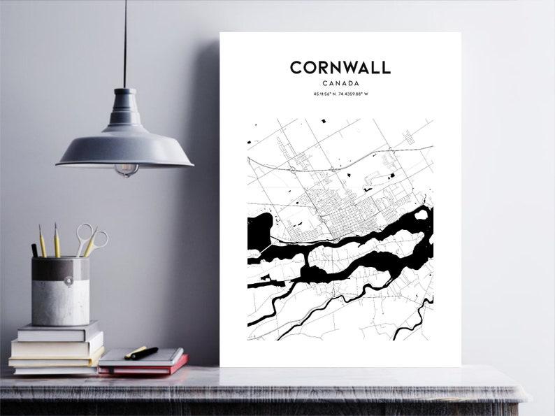 Cornwall Map Poster Cornwall Map Print Wall Art Cornwall ...