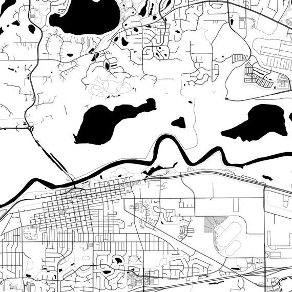 Shakopee City Map City Street Road Map Shakopee Wall Art Minnesota MN USA Map Poster Shakopee Map Print