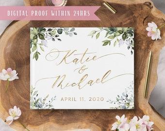 Wedding Guest Book Personalised Rustic Wedding Floral Blush Pink Flower Wreath