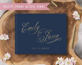 Navy Wedding Guest Book, Gold Foil Horizontal Wedding Book with Calligraphy Names, Hardcover Album  #gb012
