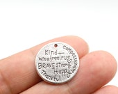 Alloy Silver Tone 15PCS, Inspiration Words Charm Pendant Kind Wise Free, True Brave Strong Happy Thankful Compassionate, 23mm, CM33-F1473