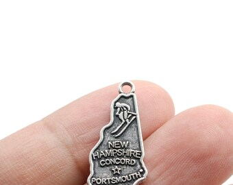 STERLING SILVER TRAVEL STATE MAP OF NEW HAMPSHIRE DANGLE EUROPEAN BEAD CHARM