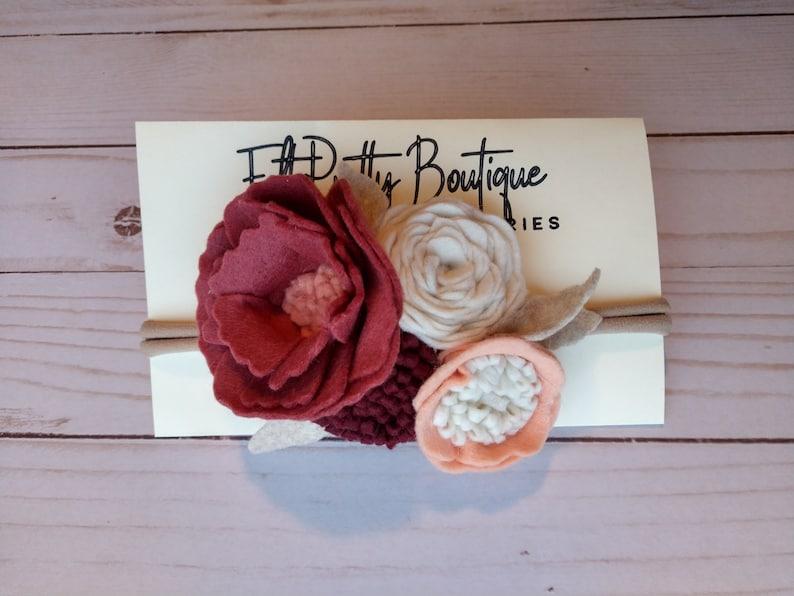 Felt Floral Headband Flower Crown Peach Wine