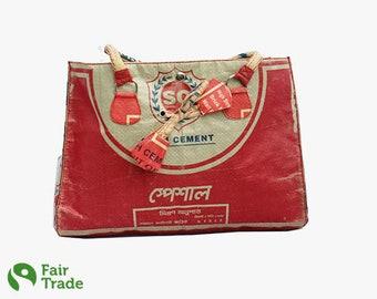 Modern upcycling handbag made of cement bag