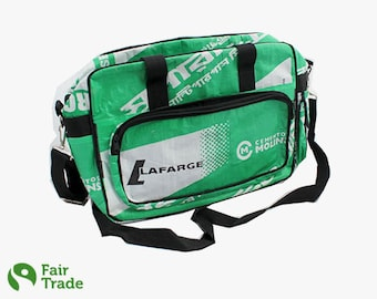 Upcycling sport and school bag made of cement bag - green