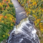 Tahquamenon Falls Photo Print, Waterfall, Fall Colors, Autumn, Drone Aerial, Lake Superior, Upper Peninsula, Wall Art, Pure Michigan TQFalls