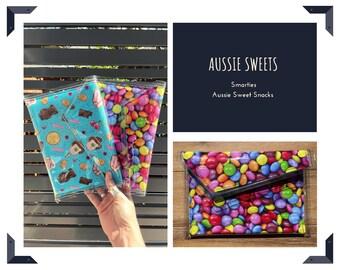Aussie Sweet Snacks | Smarties | Lollies | PVC CLUTCH