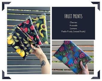 Feeling Fruity PVC Clutch / avocado / lemons / cherries / PVC Purse / Bag / Accessories Funky